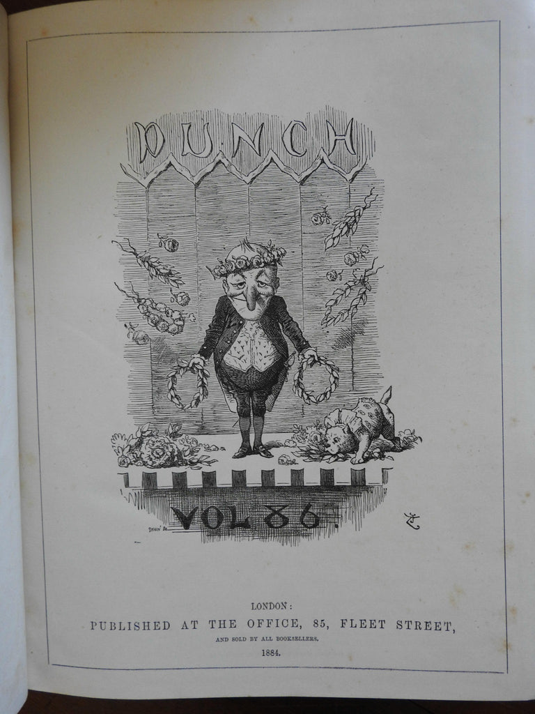 Punch 1884 London U.K. profusely illustrated periodical bound vol. cartoon art