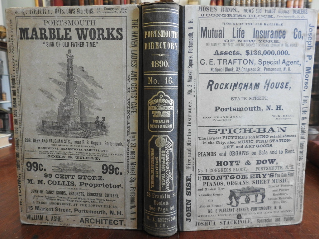Portsmouth New Hampshire 1890 city Directory Advertising Businesses residents