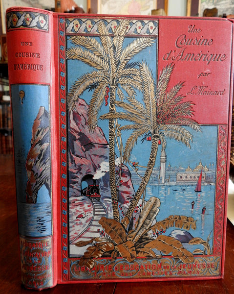 Une Niece D'Amerique Venice cover Mainard c.1891 Decorative Illustrated Book