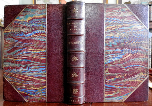 Contributions to Punch 1886 William Makepeace Thackery Victorian leather book