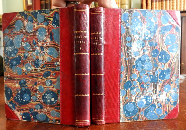Chandos by Ouida Victorian Lit 1871 Tauchnitz two volume leather set old books
