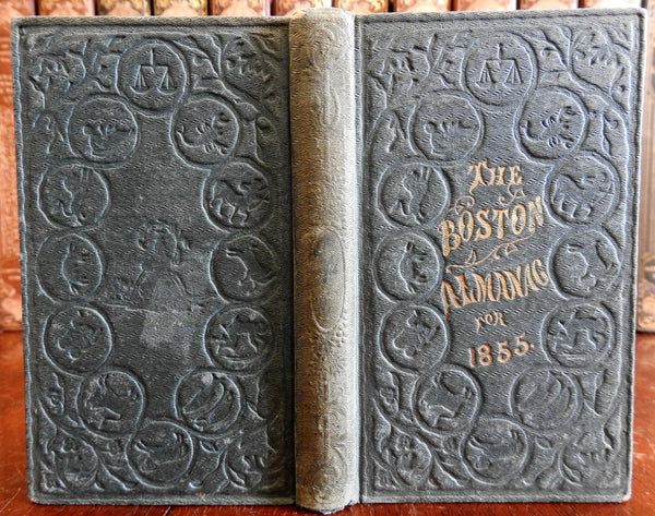 Boston Almanac Mass. 1855 city map rare book advertising business directory