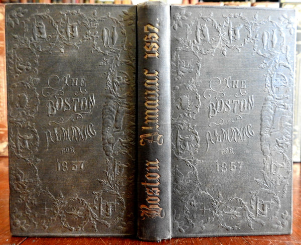 Boston Almanac Mass. 1857 city map rare book advertising business directory