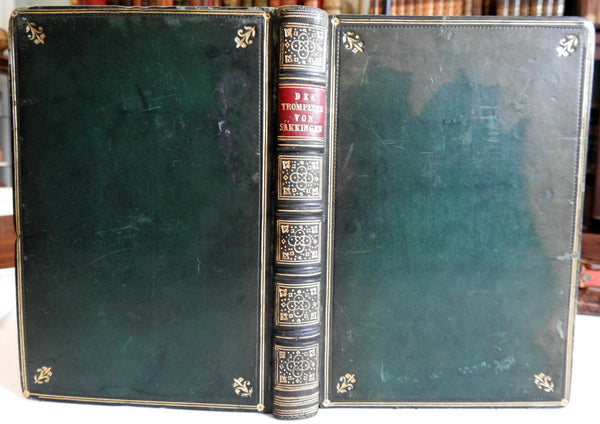 The Trumpeter of Sackingen German Epic Poetry 1865 gift edition leather book