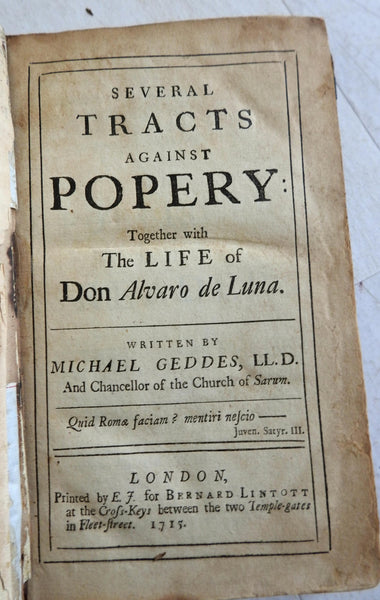 Several Tracts Against Popery English Anti-Catholic work 1715 Geddes book