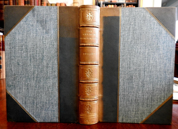 French Humorists Rabelais Moliere 1873 W. Besant signed Brentanos leather book