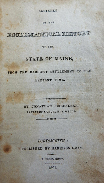 Ecclesiastical History of Maine Jonathan Greenleaf 1821 antiquarian leather book