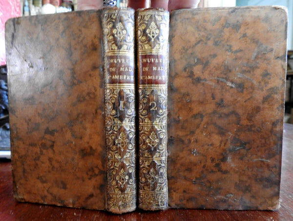 Works of the Marquise de Lambert 1761 fine 2 vol. leather set French Literature