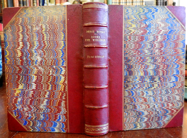 Denis Duval Lovel the Widower William Makepeace Thackery 1869 old leather book