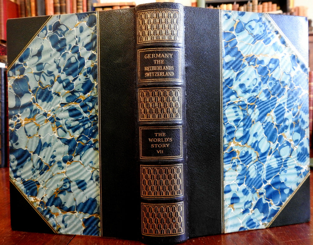 World History of Germany Netherlands Switzerland 1914 lovely gilt leather book