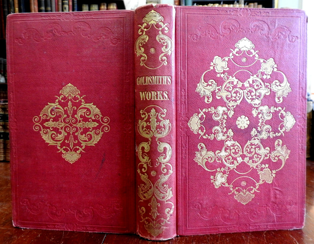 Oliver Goldsmith Collected Essays 1850 engraved portrait gift binding old book