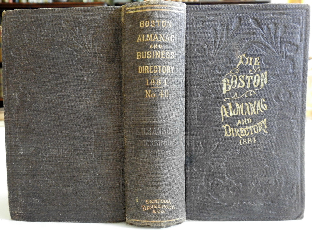 Boston Almanac Mass. 1884 city map rare book advertising business directory