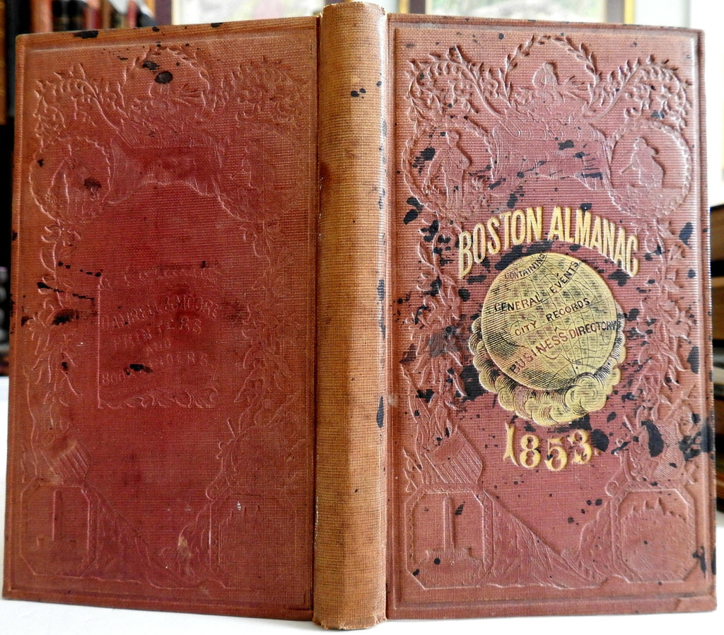Boston Almanac Mass. 1853 city map by Bonner book advertising business directory