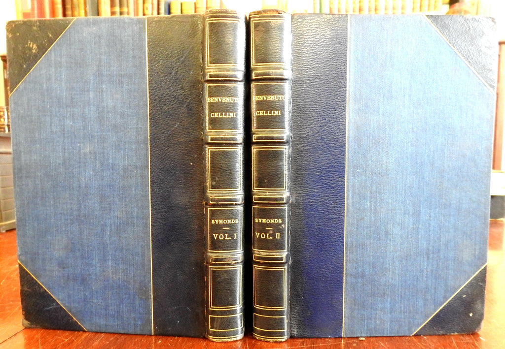 Autobiography of Benvenuto Cellini 1906 Renaissance Artist 2 vol leather set