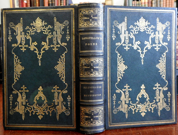 Henry Wadsworth Longfellow 1850 Collected Poems decorative Leather book w plates