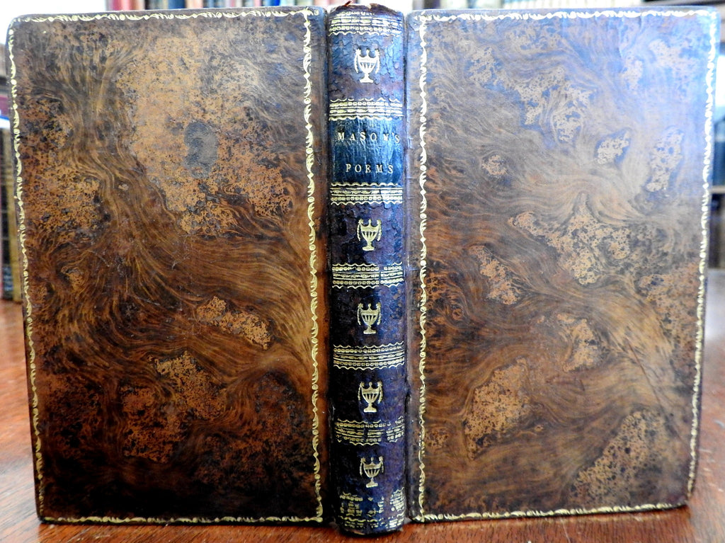 William Mason Collected Poems w/ portrait 1805 lovely antiquarian leather book