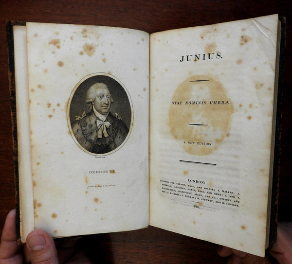 Letters of Junius 1810 British political tracts George III old leather book