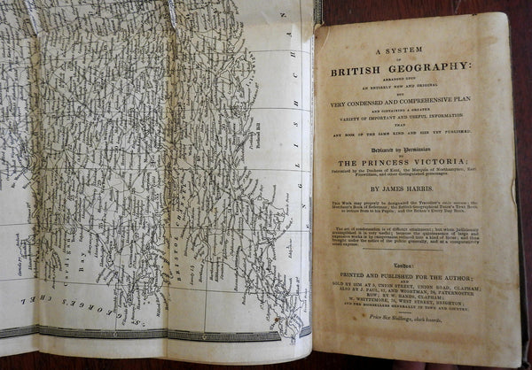 System of British Geography 1835 James Harris Folding Map rare topography book
