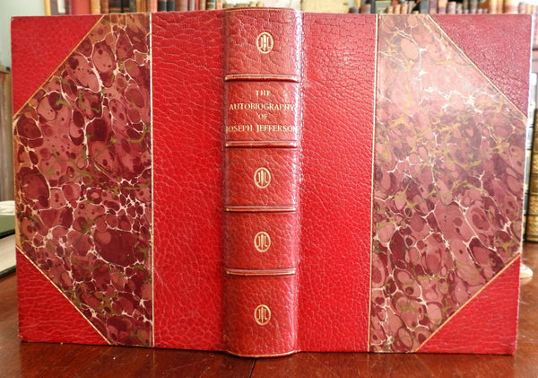 Autobiography of Joseph Jefferson 1889 NY fine leather book illustrated