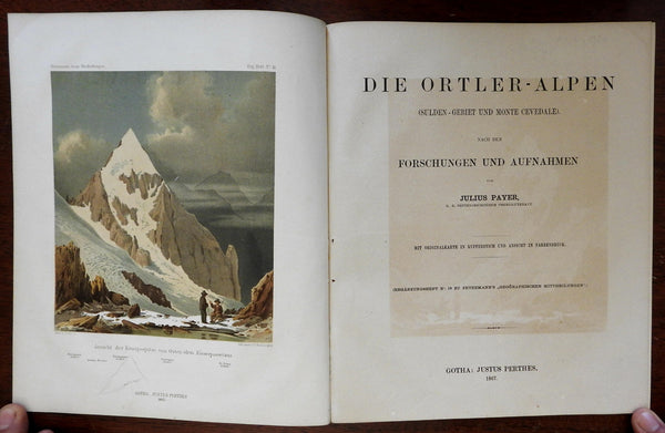 Ortler Alps Mountaineering Topography & Tourism 1867 Payer Petermann w color map