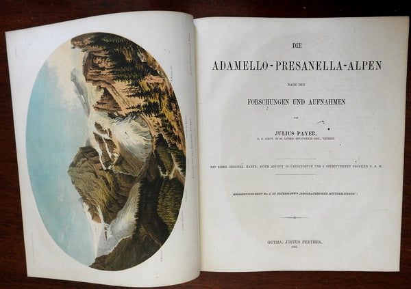 Adamello-Presanella Alps Topography & Tourism 1867 Payer Petermann w/ color map