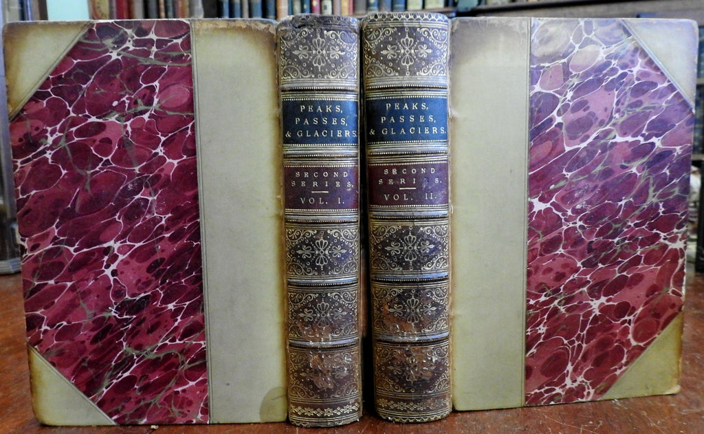 Peaks Passes and Glaciers 1862 Alpine Club Mountaineering 2 book set w/ Maps