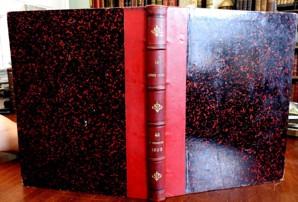 Le Genie Civil 1903 French Civil Engineering Periodical Issues leather book
