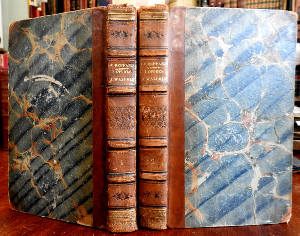 Letters of Horace Walpole and Madame du Deffand 1827 leather set 2 vols