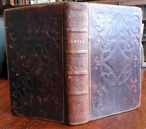 William Cowper Poems 1835 Decorative stamped Leather book binding
