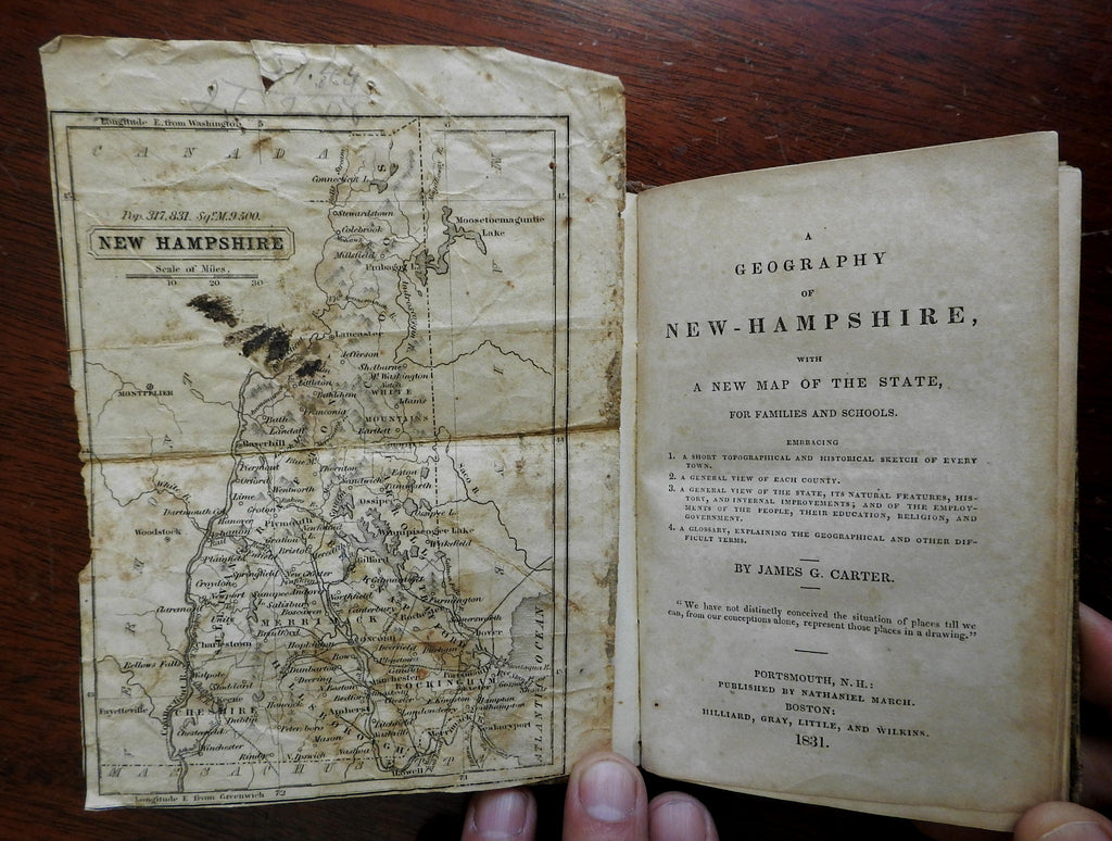 Geography of New Hampshire 1831 James G. Carter old school book with map
