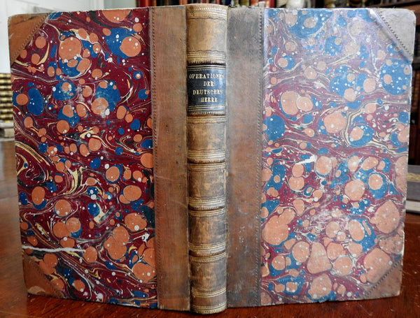 Field Reports on Franco-Prussian War 1872 German leather book w/ 3 large maps