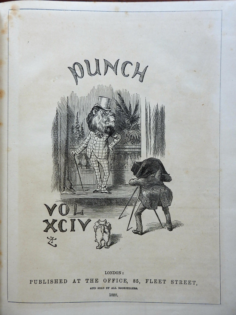 Punch 1888 Bound Periodical Society Political & Funny Cartoons 6 months vol. 94