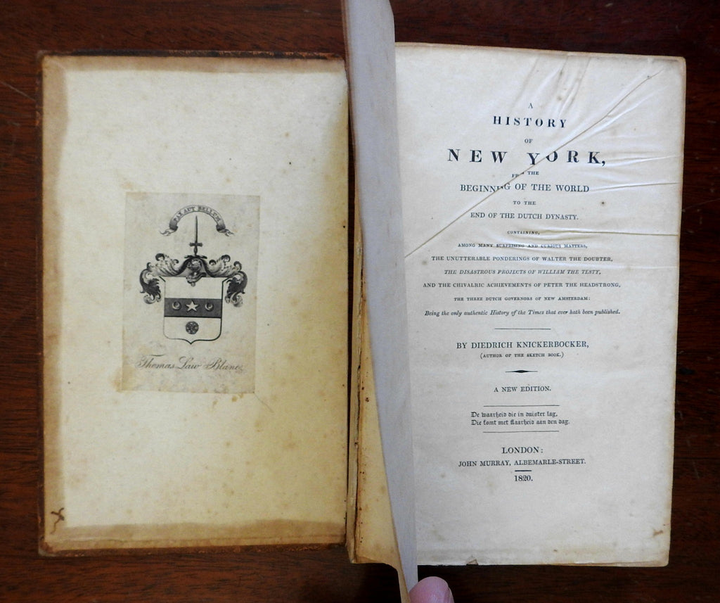 Knickerbocker's History of New York 1820 Washington Irving leather book