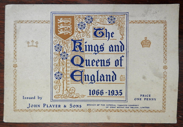 Kings and Queens of England 1935 Player Cigarette Card Display Album 50 cards