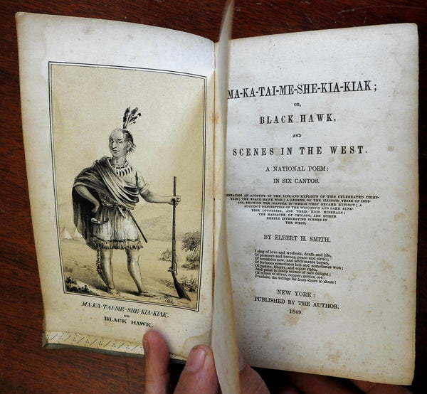 Black Hawk Scenes in the West 1849 Smith illustrated 2 lithos Z Taylor epic poem