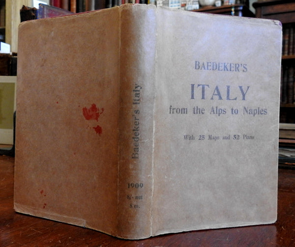 Italy Alps to Naples 1907 Baedeker's Guide with original paper dust jacket
