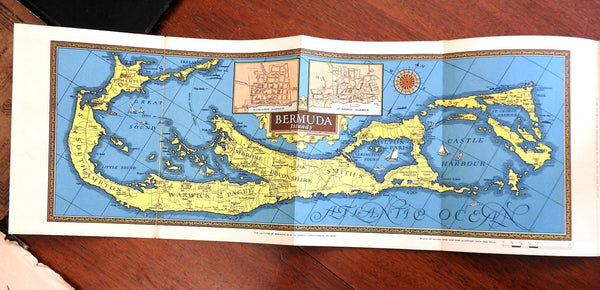 Bermuda pictorial Travel map 1930's w/ rare illustrated tourism guide book views