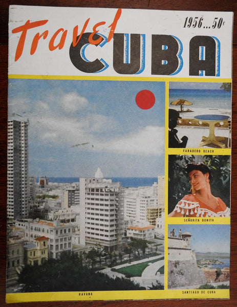 Travel Cuba pictorial map 1955 Advertising Brochure Tourism Havana Night Life