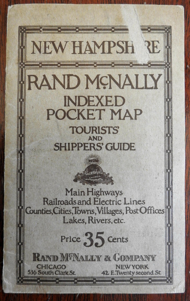 Rand McNally folding pocket map of New Hampshire 1921 very large scarce w/ index