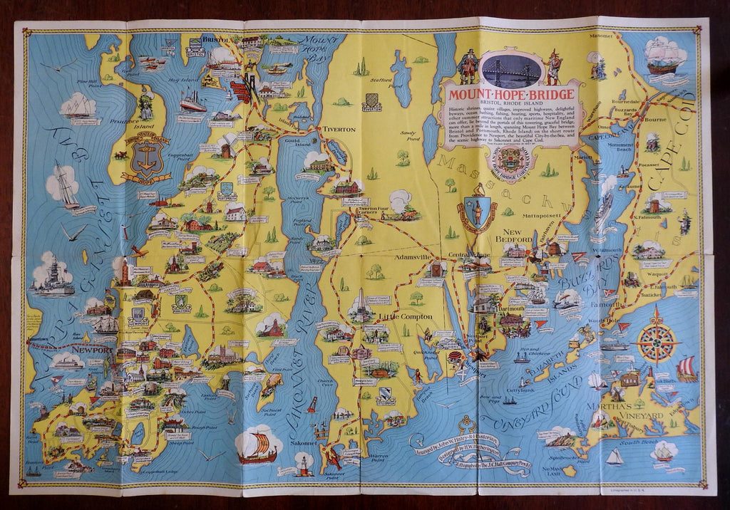 Newport Rhode Island pictorial cartoon map 1937 Ten Mile Drive named houses rare