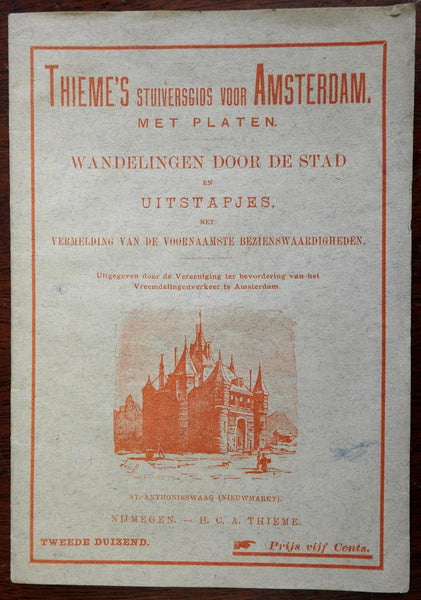 Amsterdam Holland tourist city guide c.1890 Thieme's rare illustrated guidebook