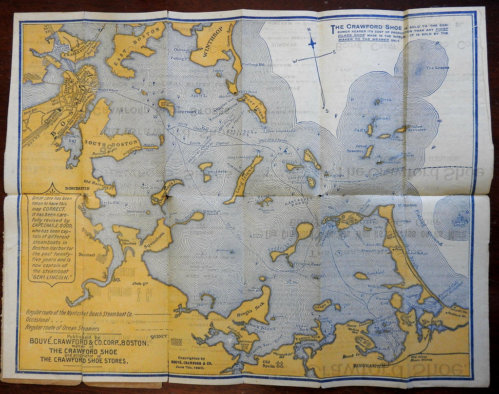 Boston Harbor rare folding pocket map 1890 Bouve Crawford Shoes advertising