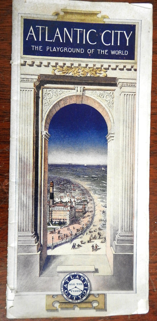 Atlantic City coast NJ 1914 Tourist brochure illustrated beach resort map rare