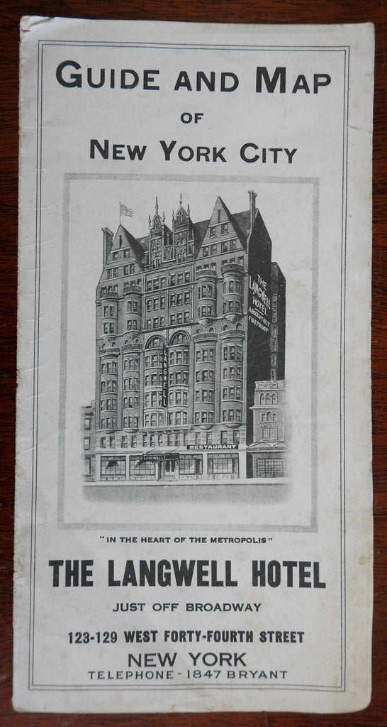 New York City Map & Guide c.1915 tourist hotel brochure w/ city plan map