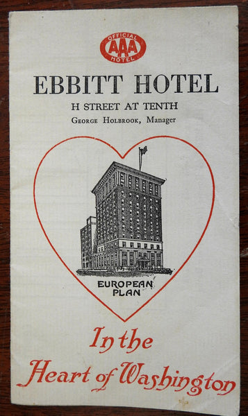 Ebbitt Hotel Washington D.C. c.1915 AAA city plan brochure for tourists