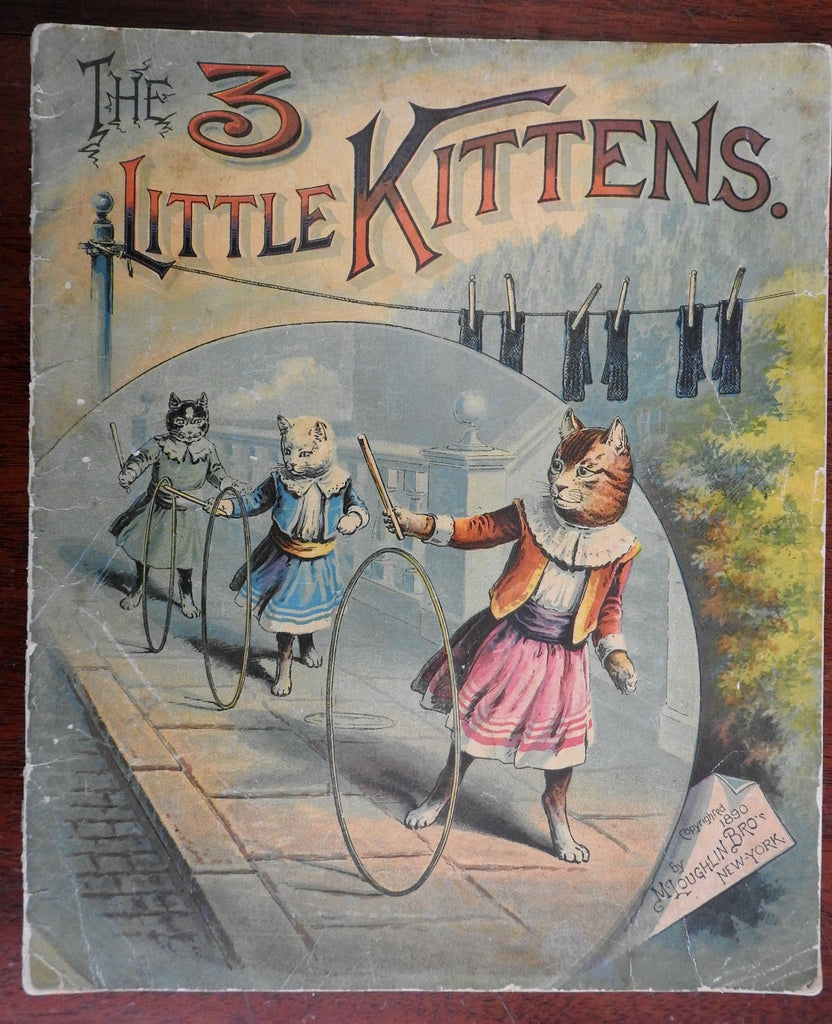 3 Little Kittens Cats 1890 McLoughlin Brothers children's book folio size fine