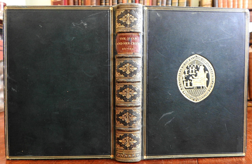 The Swan and Her Crew Adventures of Sportsmen 1880 Davies lovely leather book