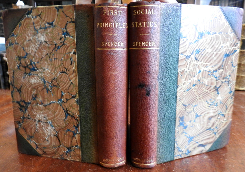 Social Statics & First Principles Philosophy 1897 Herbert Spencer leather 2v set