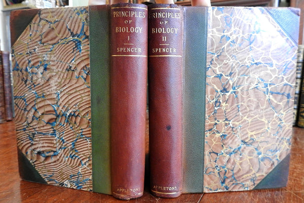Principles of Biology 1897 Herbert Spencer leather 2v set