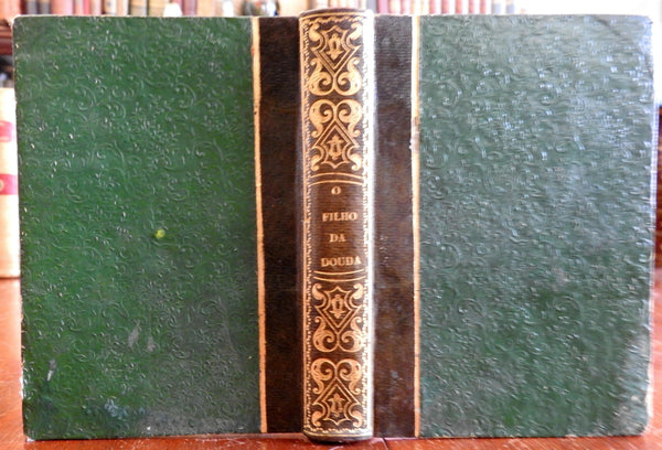 O Filho da Douda 1848 Soulie rare Portuguese small leather book Lisbon imprint